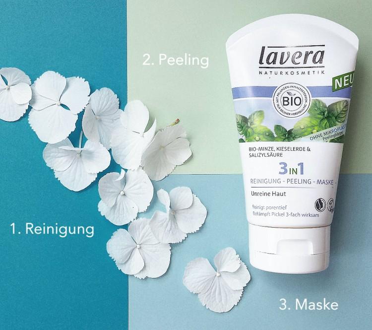 karosophies naturkosmetik lavera 3in1 reinigung peeling maske multifunktionstalent pflege